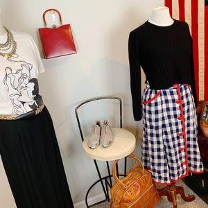 VTG Ruth Matthews Linen Farmhouse Plaid Skirt